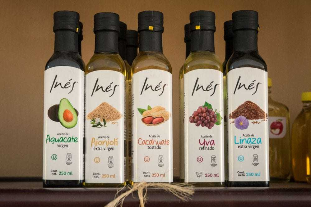 Inés oils: avocado oil, sesame oil, peanut oil, grape oil, and linseed oil.