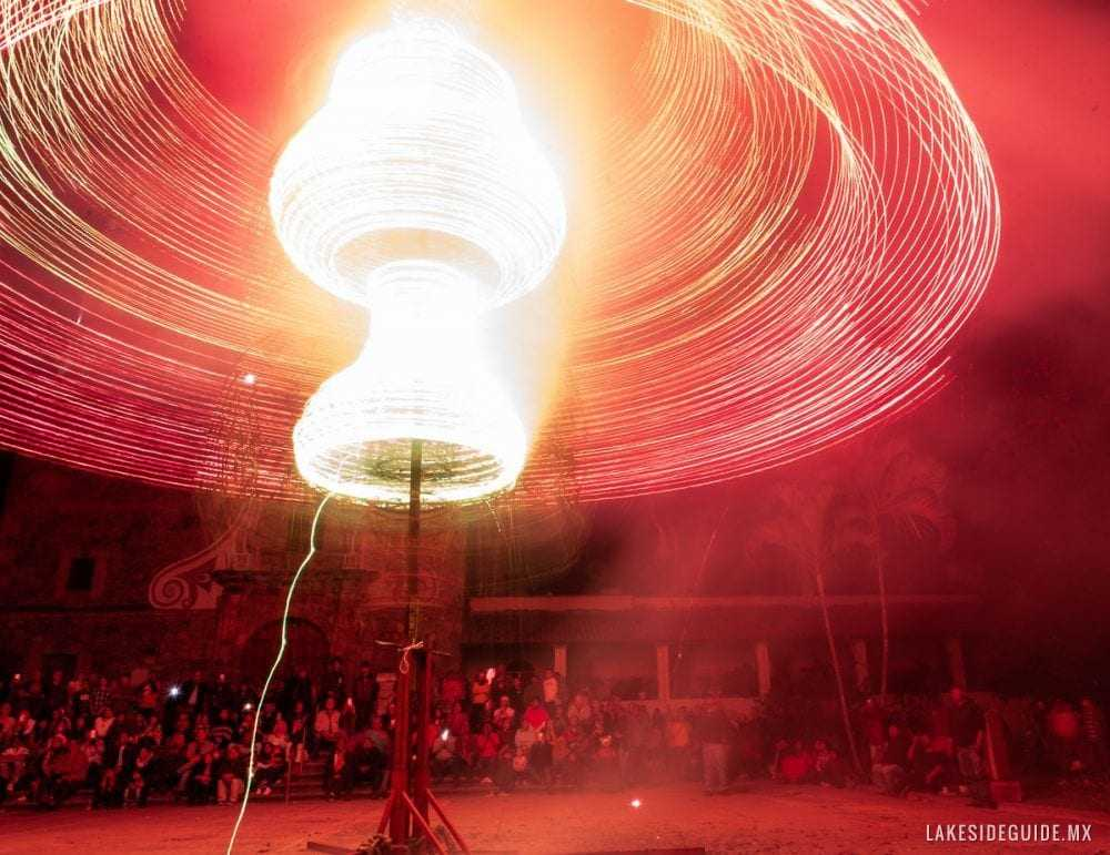 They have moving parts which get propelled by the force of the fireworks strapped to its wooden latticework.