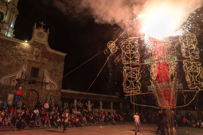 The castillos are a part of Mexico's heritage of handcrafted fireworks. Some 50,000 families in Mexico dedicate themselves to making fireworks.