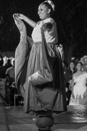 """Bietsy Pulido performs a dance which the dancers in this group call, """"Ollas"""" (pots), which comes from Michoacán."""