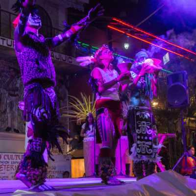 The Aztec dance group Ce Ollin performs during the Festival Cultural Sangre Viva in Ajijic, Mexico.
