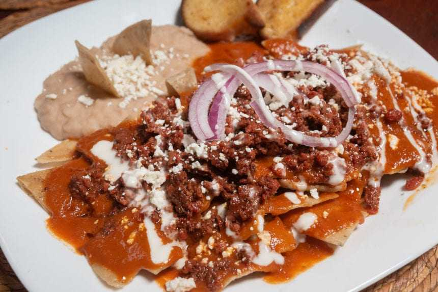 Chilaquiles Mazamitla: chilaquiles with chorizo.