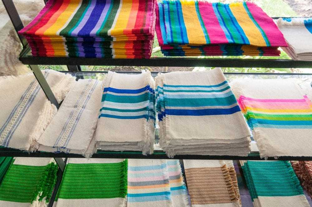 Handwoven placemats and napkins made at Telares los Reyes.