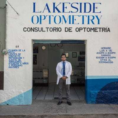 Outside Lakeside Optometry with Salvador Borrayo Martínez.