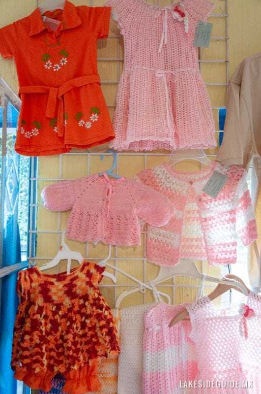 Crocheted baby clothes.