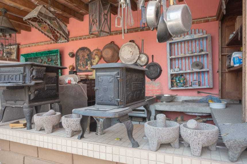 Molcajetes (mortars and pestles), cast iron wood-burning stoves.