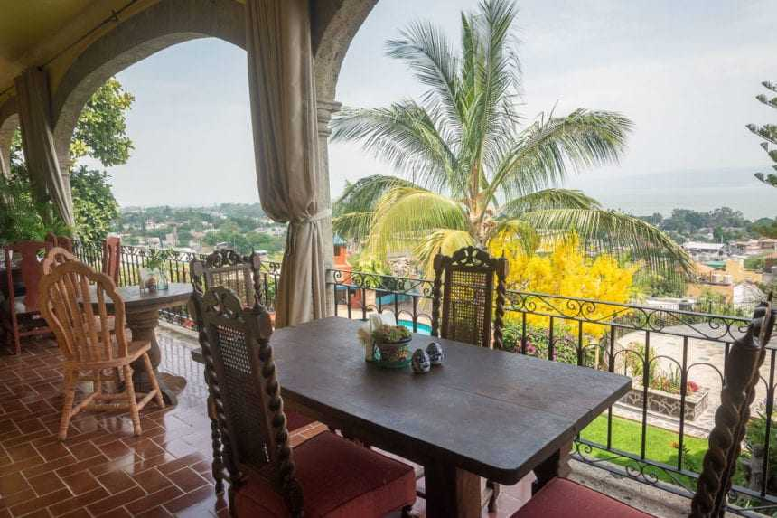 Most people eat their breakfast on the balcony connected to the dining room and lobby...
