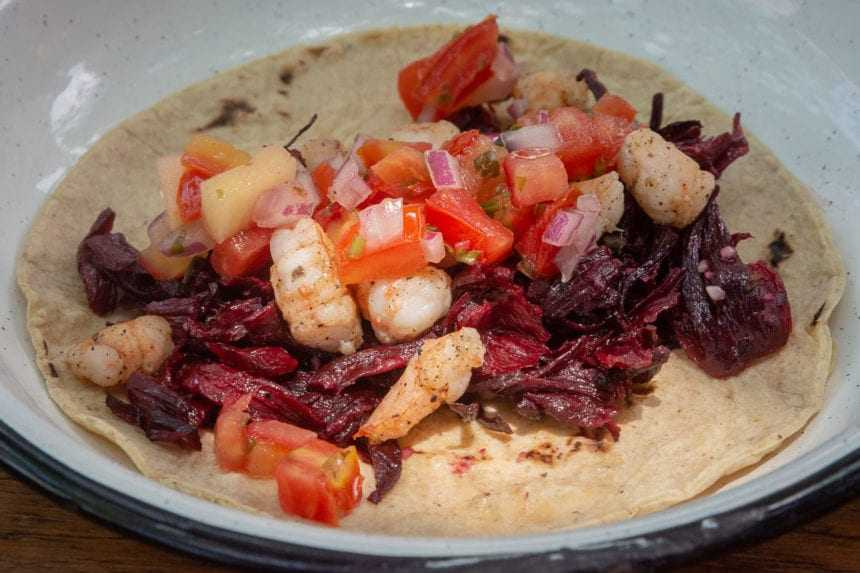 This is a taco with fried hibiscus flowers, pico de gallo salsa, and shrimp.