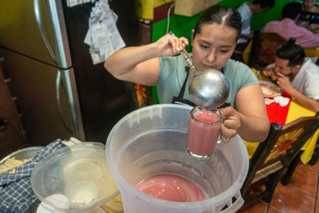 Agua fresca being served at El Chile Verde.