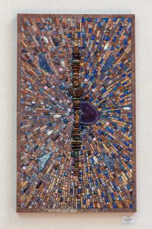 """""""Quantum Transcending and the Dragon Butterfly"""": agate, amethyst, lapis lazuli, sodalite, travertine, sandstone, abalone shell, iridescent glass, and pebble stones."""