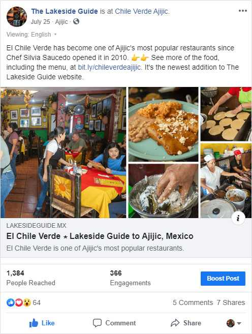 El Chile Verde Facebook Post